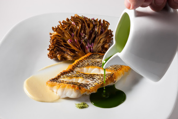 Pan-Seared Black Sea Bass, Grilled Maitake Mushroom, Aromatic Basil Sauce Perry St